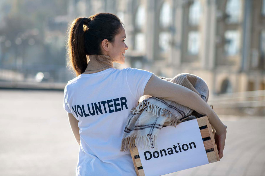 Volunteer with donation